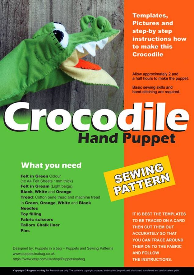 Crocodile-Hand Puppet -Sewing pattern - Puppets in a bag - custom ...